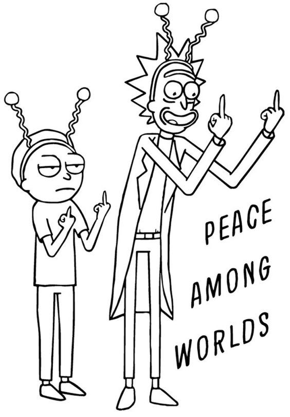 Dibujo Morty y Rick